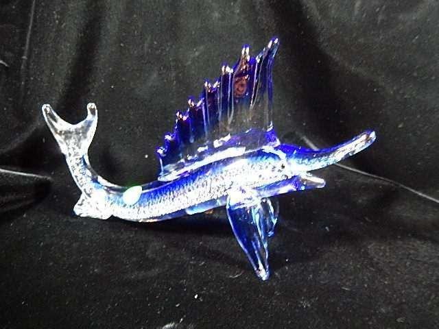 MURANO STYLE ART GLASS SAILFISH SCULPTURE, BLUE, CLEAR
