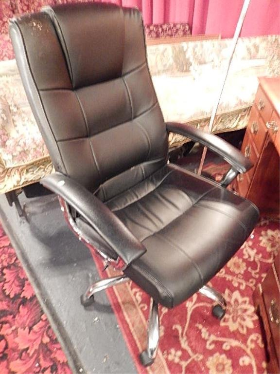 LEATHER DESK CHAIR, BLACK LEATHER WITH CHROME FRAME, ON