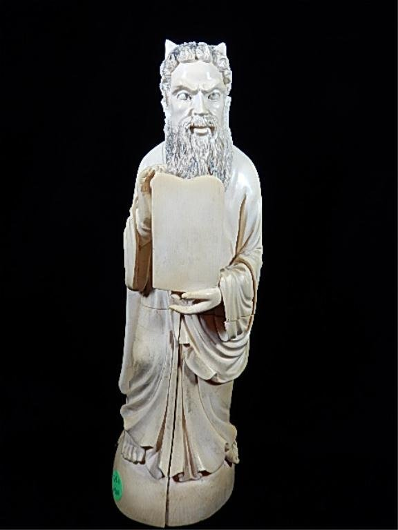 ANTIQUE IVORY CARVING, MOSES & THE 10 COMMANDMENTS,