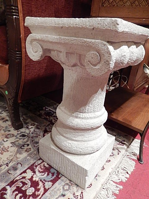 "WHITE PLASTER PEDESTAL, IONIC COLUMN, APPROX 20""H"