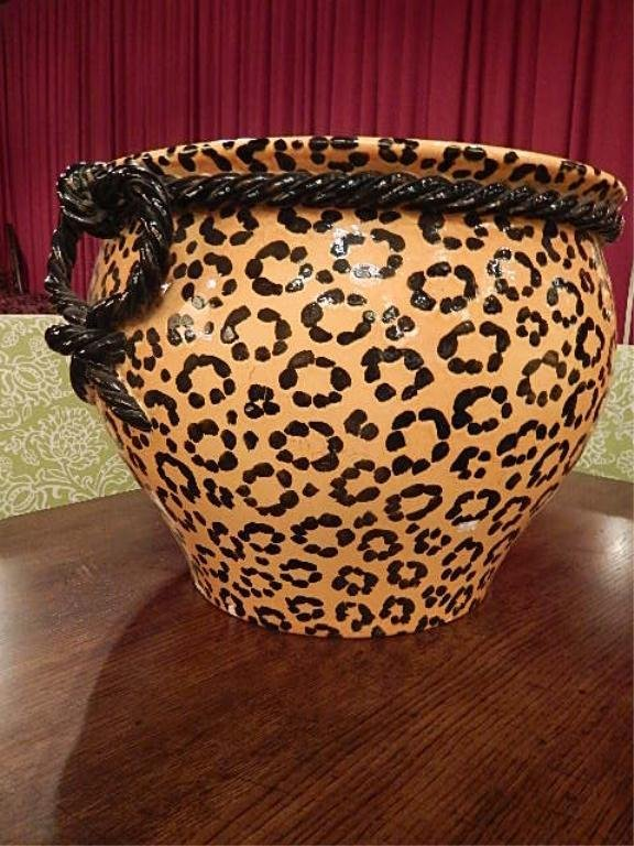LARGE CHEETAH PRINT PAINTED JARDINERE, BLACK AND