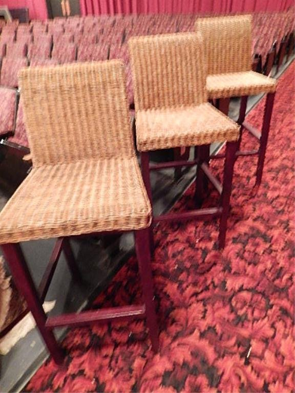 3 PC RATTAN AND WOOD BARSTOOLS, MODERN DESIGN