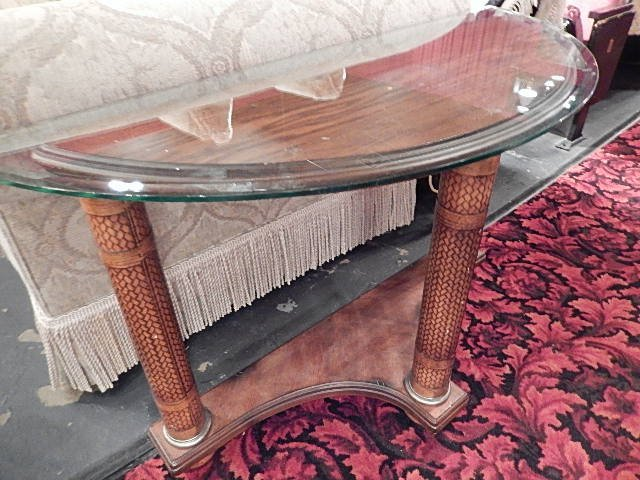 TOMMY BAHAMA STYLE DEMILUNE CONSOLE TABLE WITH FAUX