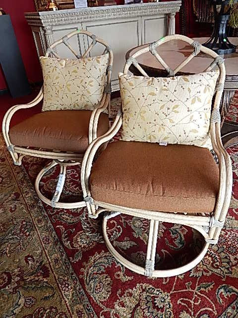 PAIR THOMASVILLE METAL RATTAN LOOK ARMCHAIRS WITH