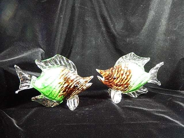 TWO MURANO STYLE ART GLASS FISH SCULPTURES, BROWN &
