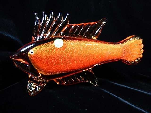 MURANO STYLE ART GLASS FISH SCULPTURE, ORANGE & GOLD,