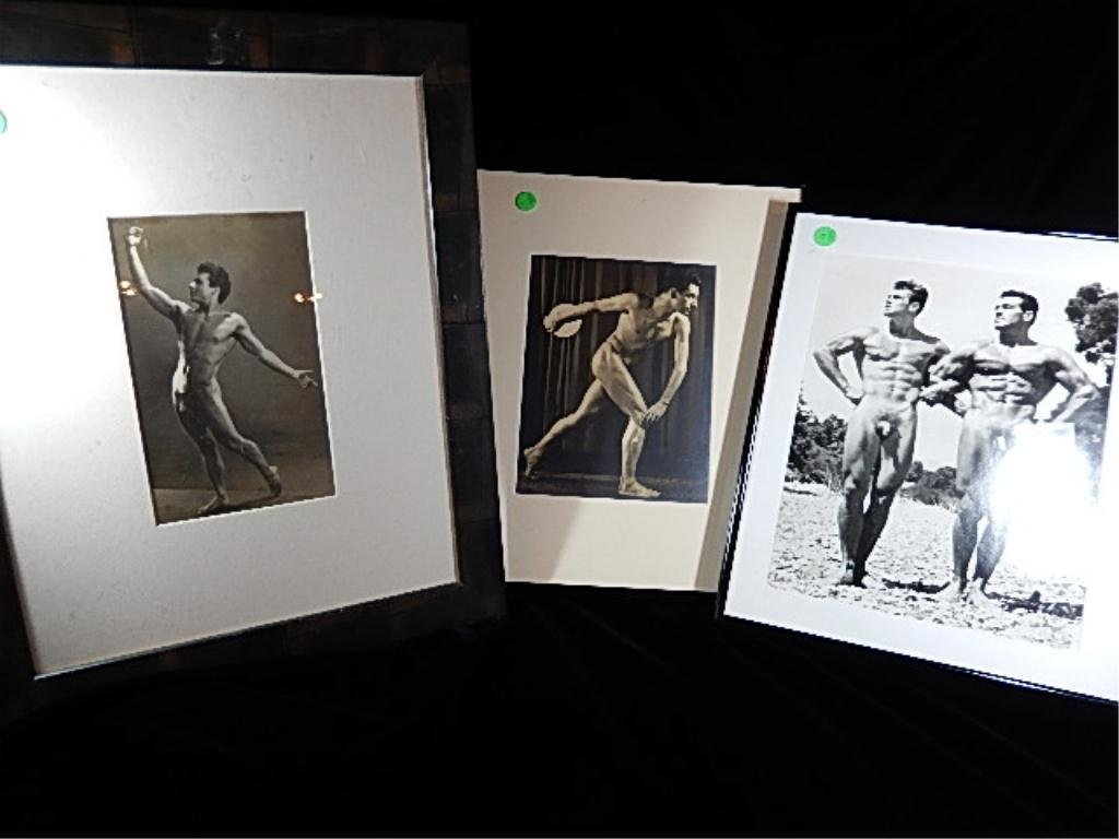 "3 VINTAGE NUDE PHOTOS, DISCUS PLAYER EMBOSSED ""E.T."