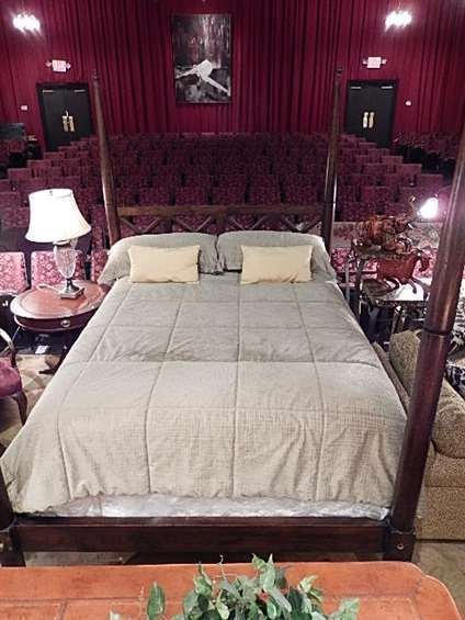 FOUR POSTER QUEEN BED, DARK FINISH, INCLUDES HEADBOARD,