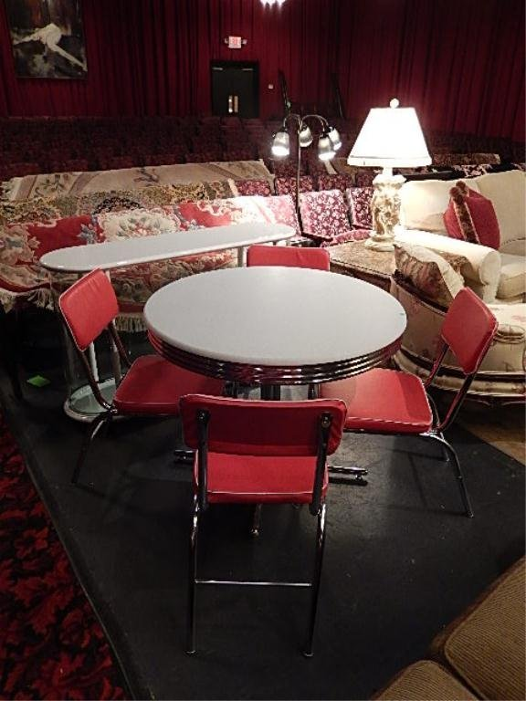 RETRO DINER STYLE CHROME TABLE AND 4 CHAIRS, RED VINYL