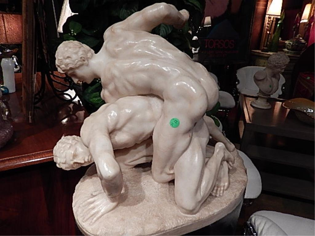 ALABASTER MARBLE SCULPTURE, CLASSIC GREEK WRESTLERS,