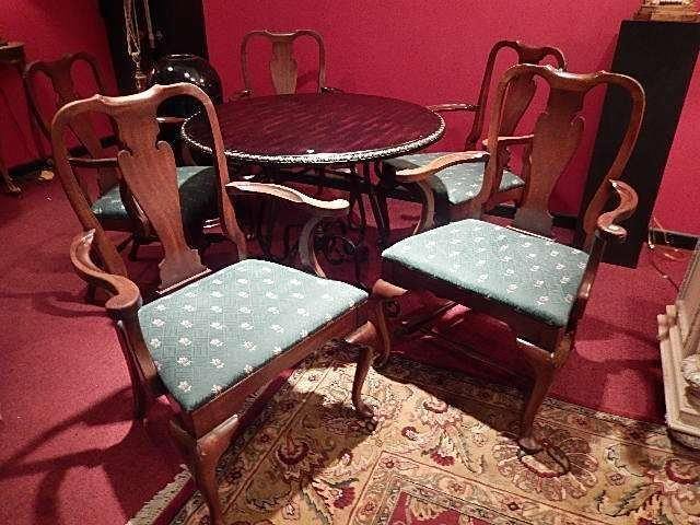 5 PC SET MAHOGANY ARMCHAIRS, GREEN AND GOLD UPHOLSTERED
