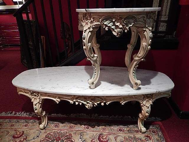 ROCOCO COFFEE AND SIDE TABLE 2 PC SET, WHITE MARBLE