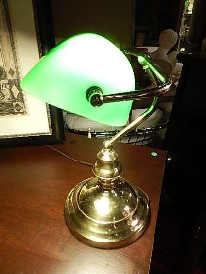 "BRASS BANKER'S LAMP, GREEN GLASS SHADE, APPROX 14""H"