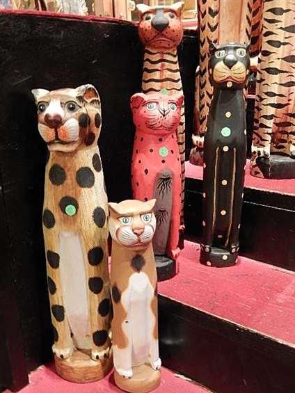 SET OF 5 MEDIUM SIZE CARVED WOOD CAT SCULPTURES,