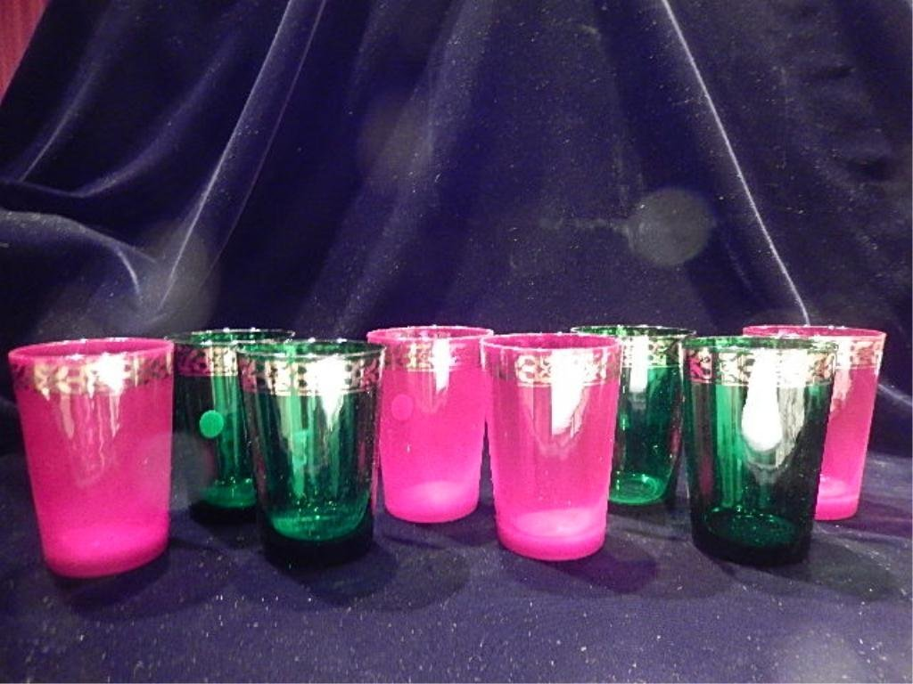 8 PC SET VINTAGE CRYSTAL TUMBLERS, GREEN AND RED WITH