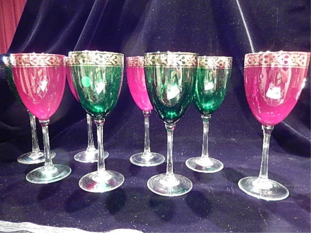 8 PC SET VINTAGE CRYSTAL WINE GOBLETS, GREEN AND RED