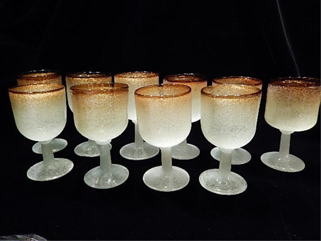 10 PC SET VINTAGE FROSTED GLASS WINE GOBLETS, GOLD