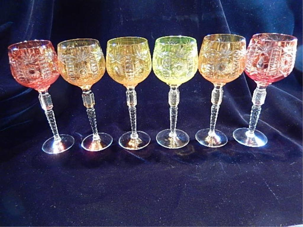 6 PC CRYSTAL GOBLET SET, MULTICOLOR CUT TO CLEAR