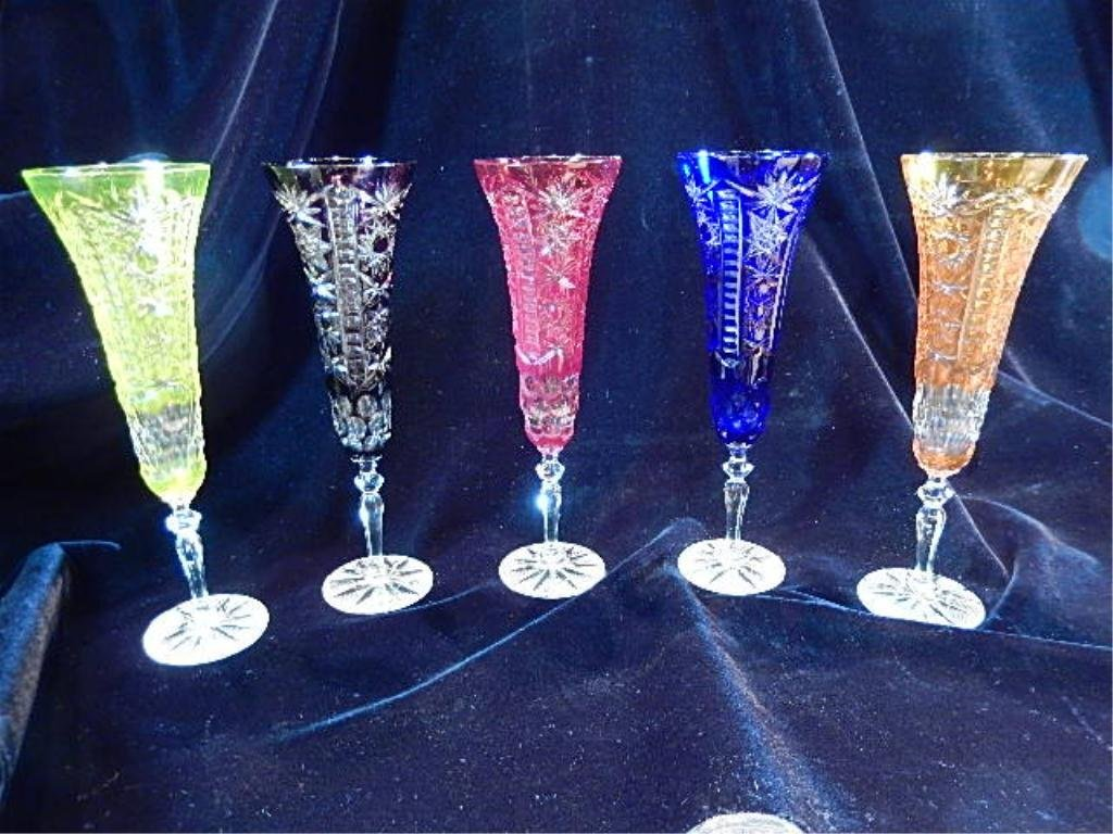 5 PC CRYSTAL CHAMPAGNE FLUTE SET, MULTICOLOR CUT TO