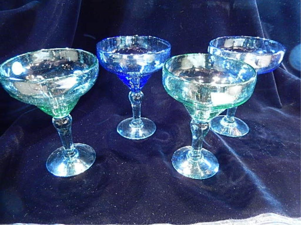 4 PC SET MARGARITA GLASSES, BLUE AND GREEN GLASS,