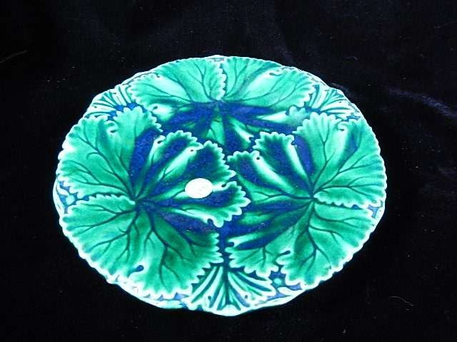 """ART POTTERY PLATE WITH LEAF PATTERN, APPROX 8.75"""""""
