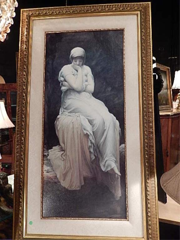 """LARGE FRAMED PRINT ON CANVAS, SEATED MAIDEN, APPROX 55"""""""