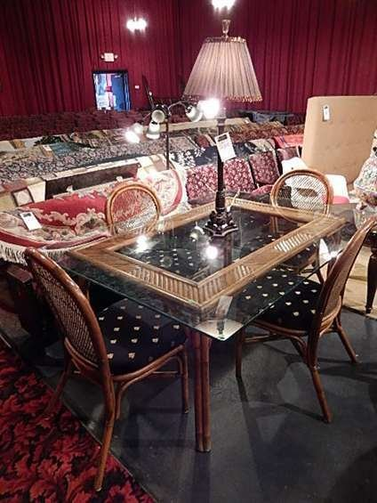 RATTAN DINING TABLE WITH GLASS TOP AND 4 CHAIRS WITH