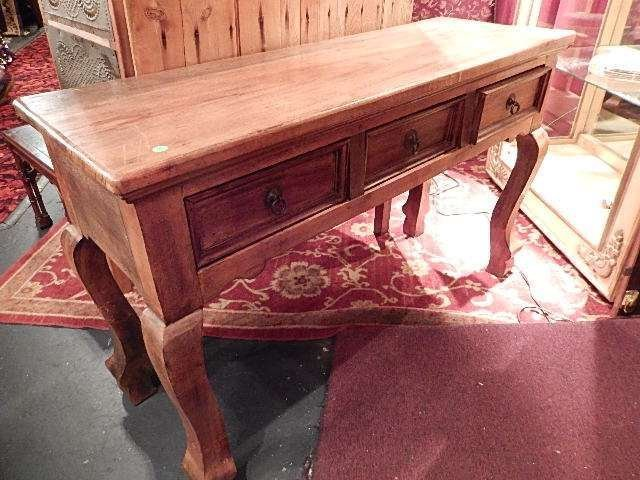 RUSTIC CARVED WOOD CONSOLE TABLE, 2 DRAWERS, APPROX 4'L
