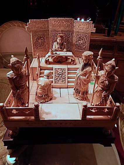 LARGE VINTAGE CHINESE CARVED IVORY COURT SCENE, APPROX
