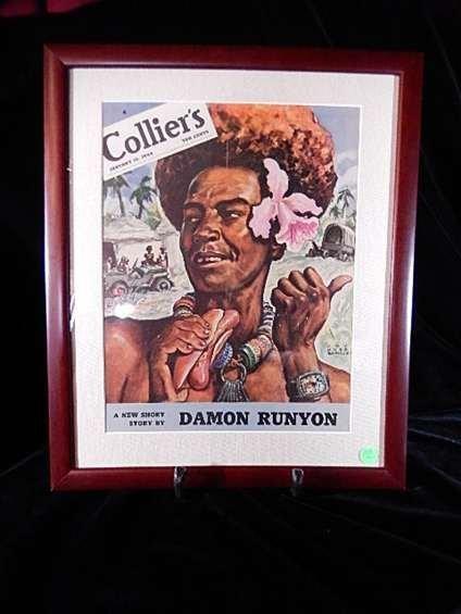 "FRAMED 1944 COLLIERS MAGAZINE COVER, ""DAMON RUNYUN"