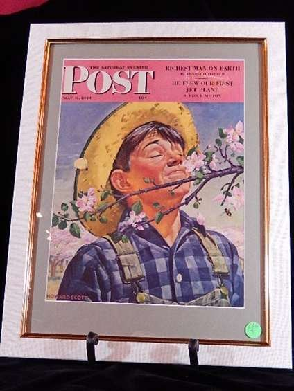 """FRAMED 1944 SATURDAY EVENING POST MAGAZINE COVER, """"THE"""