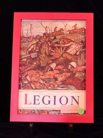 FRAMED 1936 AMERICAN LEGION MONTHLY MAGAZINE COVER,