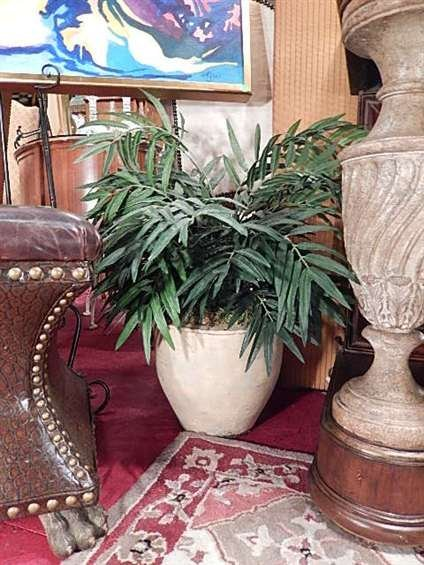 SMALL FAUX PALM IN WHITE POT, #1 OF TWO AVAILABLE,