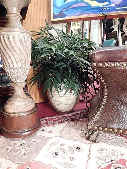 SMALL FAUX PALM IN WHITE POT, #2 OF TWO AVAILABLE,