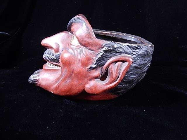 """CERAMIC DEVIL HEAD POT, 7""""W X 5""""H"""