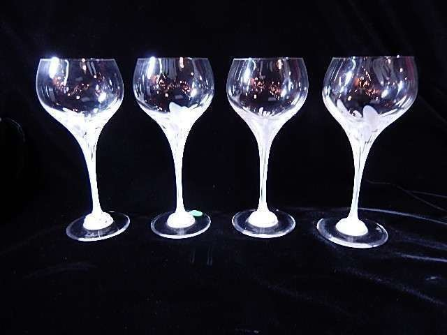 4 PC ROSENTHAL WINEGLASSES, FROSTED STEMS, ETCHED