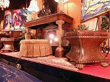 PAIR THOMASVILLE LEATHER OTTOMANS, TUFTED TOPS,