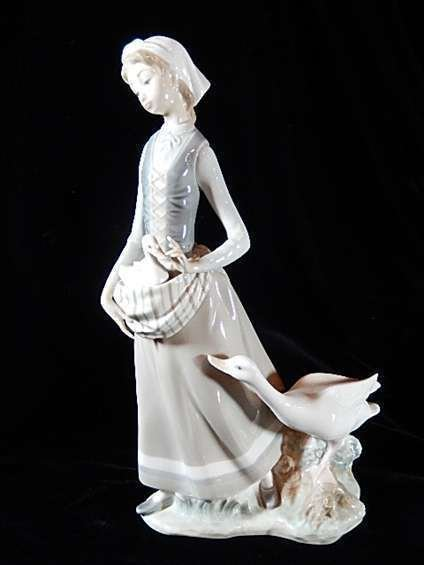 Retired Lladro Porcelain Figurine Quot Girl With Goose Quot