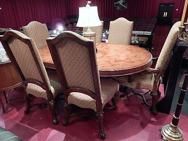 THOMASVILLE FRENCH LOUIS XIII STYLE OVAL DINING TABLE,