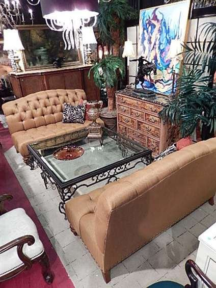 THOMASVILLE GOLD TUFTED ARMLESS SOFA, #1 OF TWO