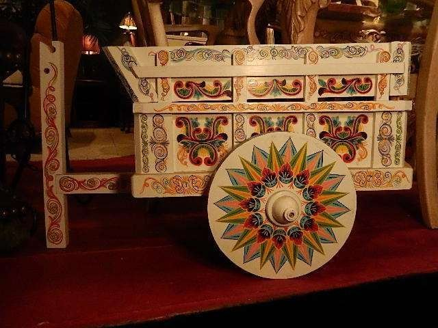 ASIAN MOTIF WOOD BAR CART, WHITE WITH PAINTED DESIGNS