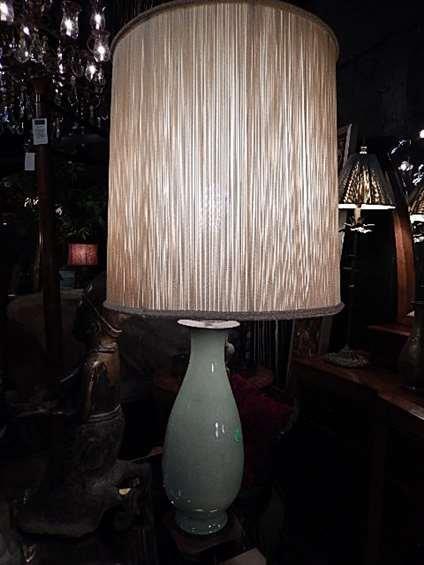 PORCELAIN CELADON GREEN TABLE LAMP, ON ASIAN MOTIF WOOD