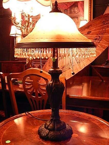 """TABLE LAMP WITH BEADED GLASS DOME SHADE, 24""""H"""