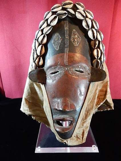 AFRICAN CARVED WOODEN HELMET MASK, WOOD & CLOTH WITH