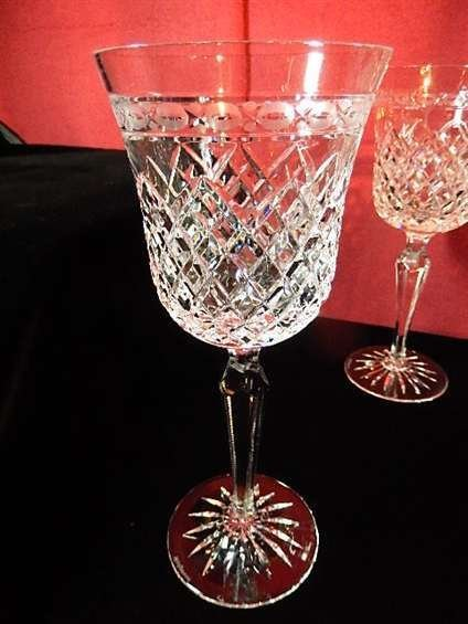 6 WEDGWOOD CRYSTAL WINE GLASSES, WITH ETCHED WEDGWOOD - 2