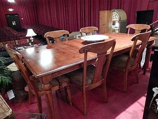 ETHAN ALLEN MAPLE DINING TABLE WITH 6 CHAIRS COUNTRY