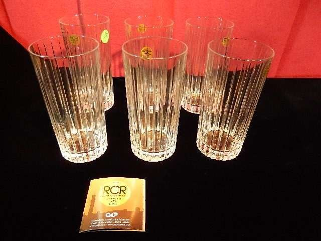 6 ROYAL CRYSTAL ROCK GLASSES, MADE IN ITALY, WITH RCR
