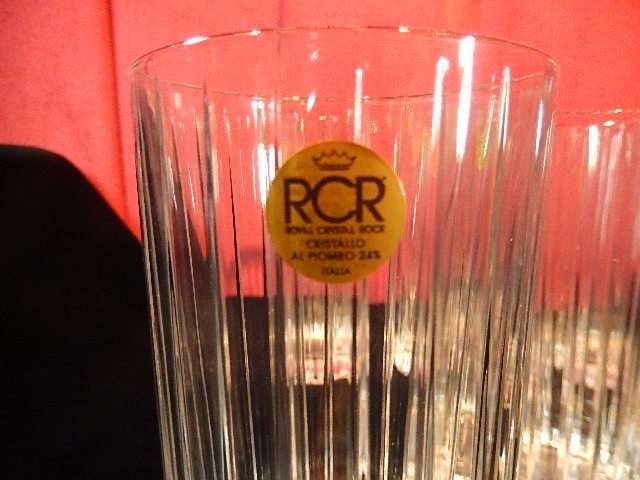6 ROYAL CRYSTAL ROCK GLASSES, MADE IN ITALY, WITH RCR - 4