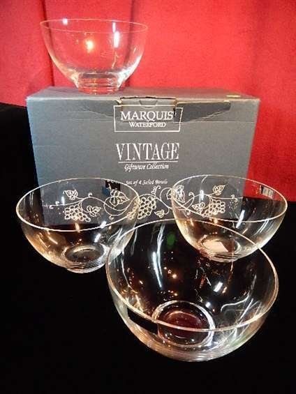 4 MARQUIS BY WATERFORD CRYSTAL BOWLS, IN ORIGINAL BOX,