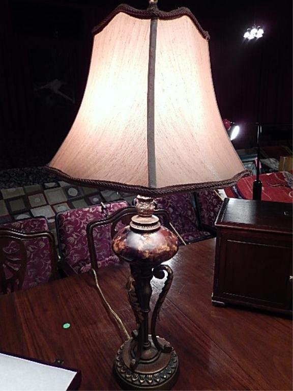 "URN STYLE TABLE LAMP, SCROLLING METAL BASE, APPROX 25""H"